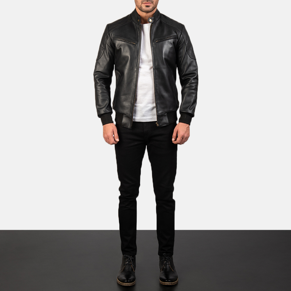 men's genuine leather bomber jackets