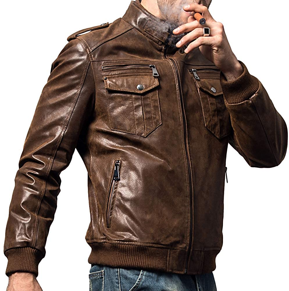 men's genuine leather motorcycle jackets